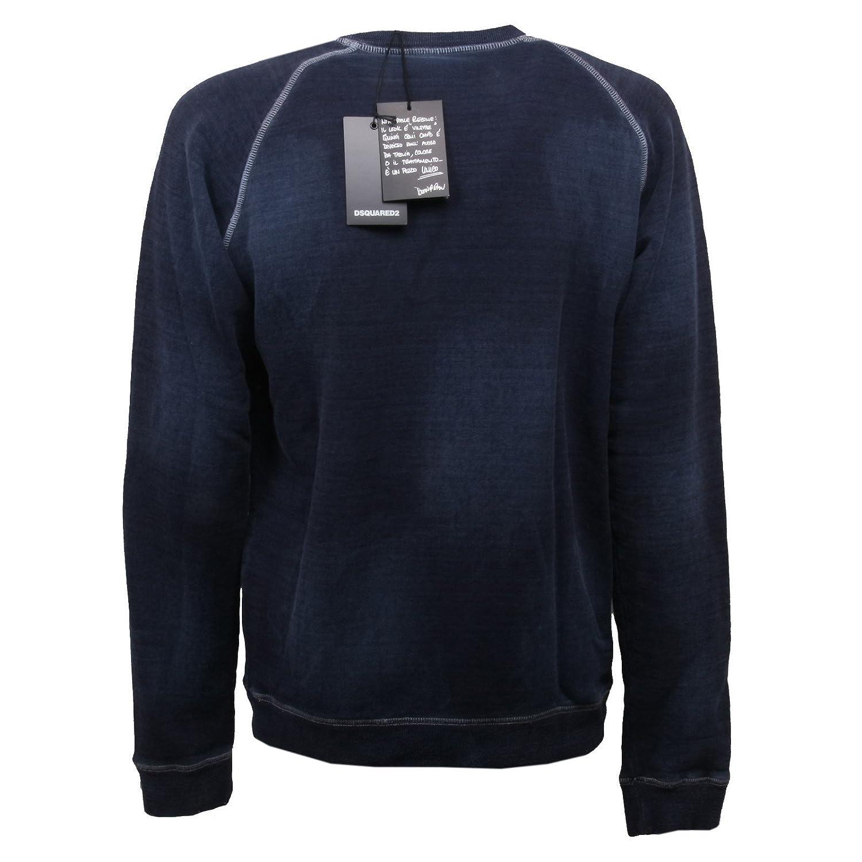 C0818 felpa uomo DSQUARED blu vintage effect sweatshirt men: Amazon.es: Ropa y accesorios