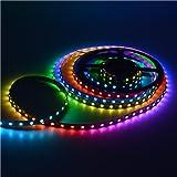 Mokungit 16.4FT 5M WS2812B Individual Addressable WS2811 Built-in 5050 RGB Digital Dream color Flex 60Pixels/m 300Pixels Black PCB Non-waterproof IP20 DC5V Programmable LED Strip Light