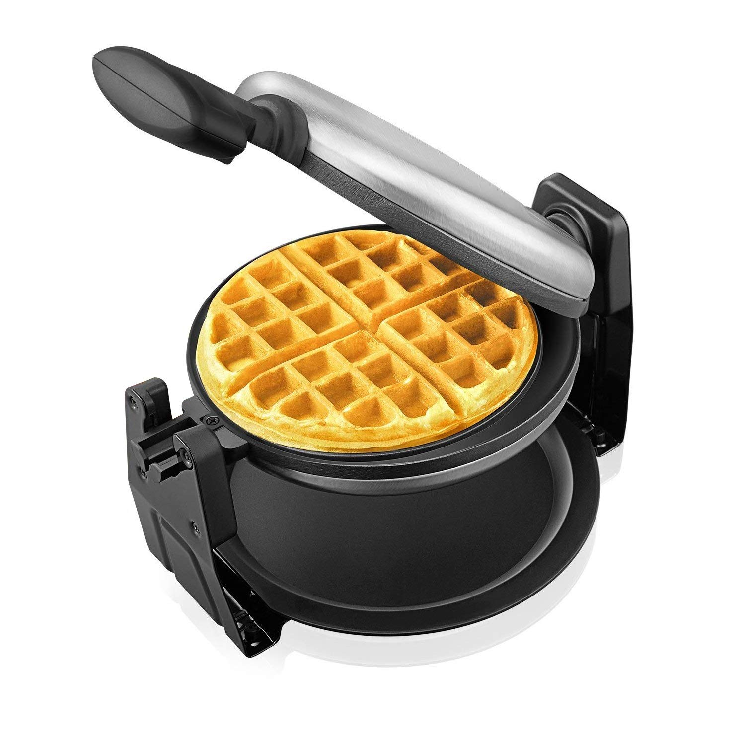 Belgian Waffle Maker Aicok, Stainless Steel Rotatable Waffle Iron, 180 Degree Rotation, Non-sticking Plates, Leak-proof Chassis, Double-sided Uniform Heating, Quick & Easy