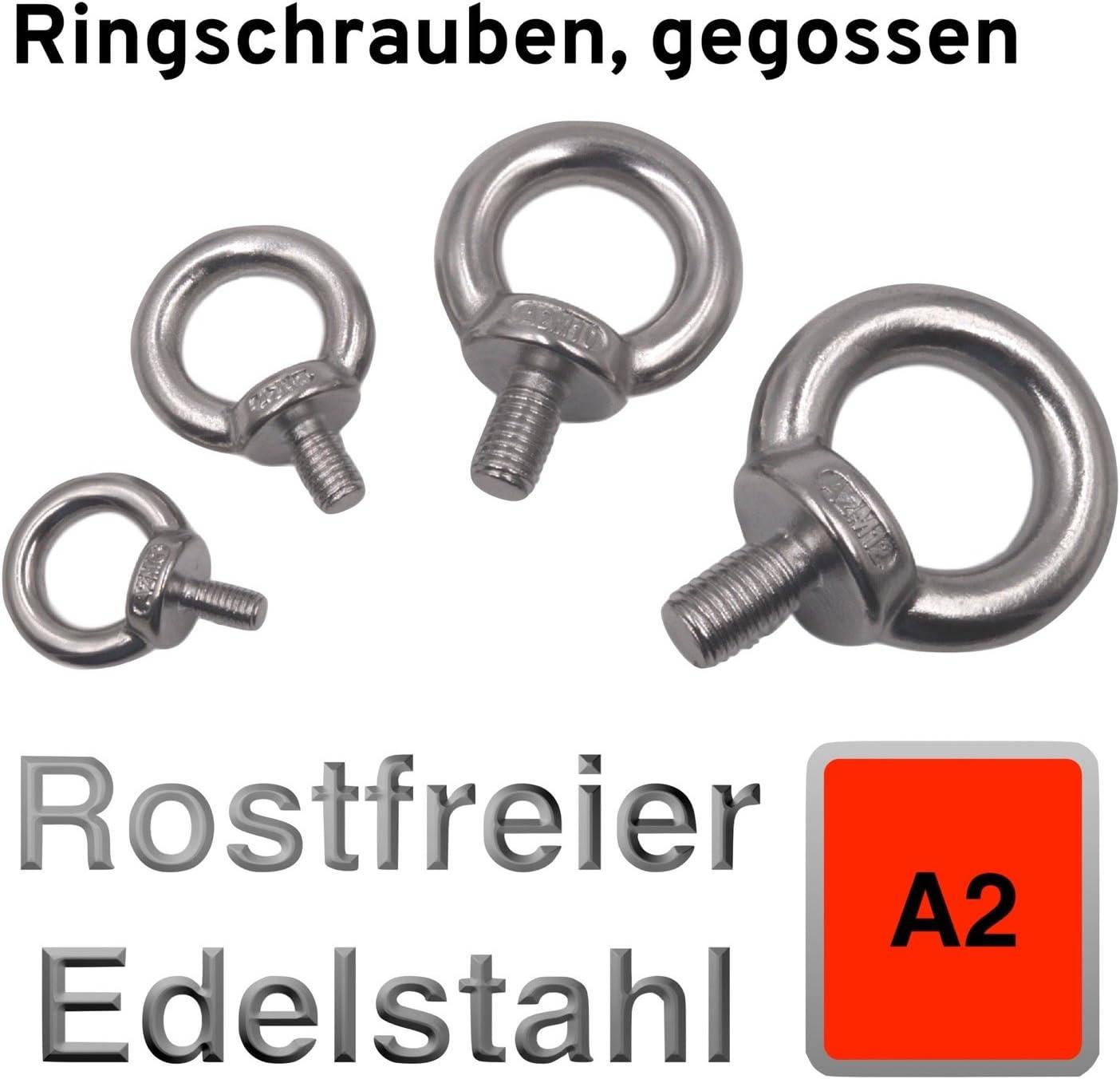 M10-8 St/ück PRIOstahl/® RINGMUTTER Edelstahl V4A Ringbolzen Ringschrauben