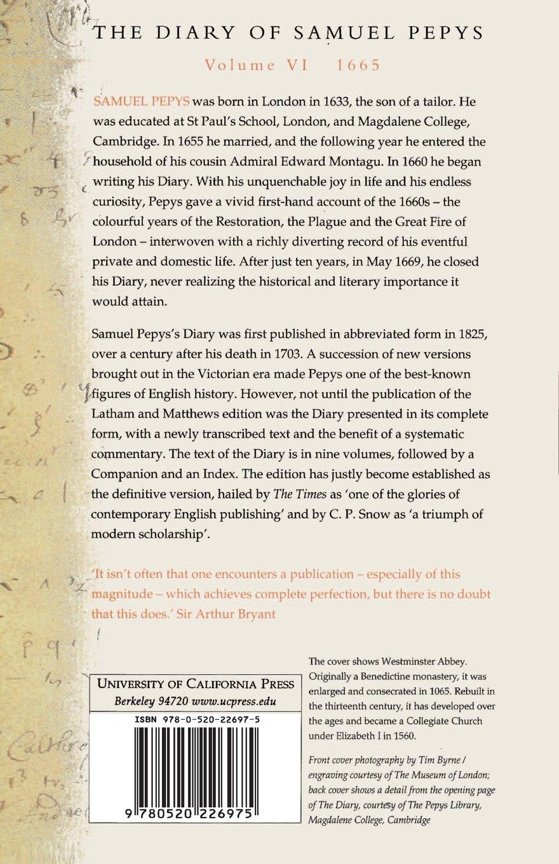 Amazon.com: The Diary of Samuel Pepys, Vol. 6: 1665 (9780520226975): Samuel  Pepys, Robert Latham, William Matthews: Books