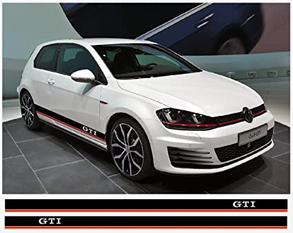 Vw gti side decal racing stripes decal set black red