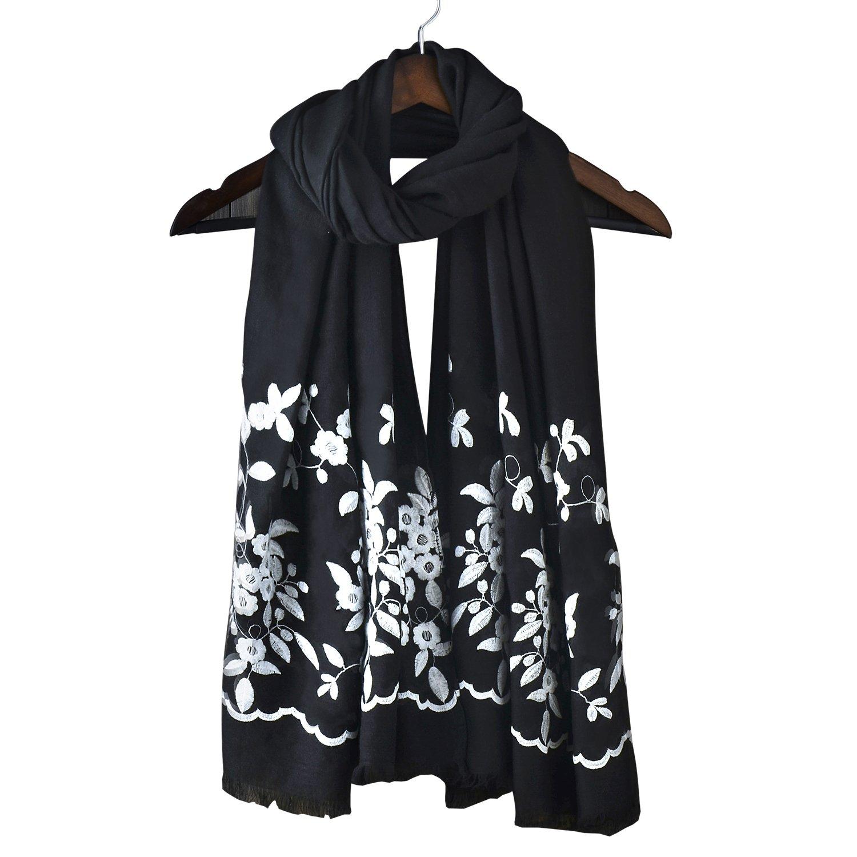 Women's Infinity Soft Big Square Long Scarves Warm Autumn Winter Shawl Pashmina Scarf (One Size, Black)