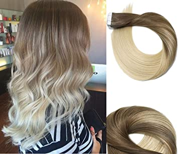 Tape In Hair Extensions Human Hair Balayage Ombre Hair 20pcs 50g Per Set Ash Brown Fading To