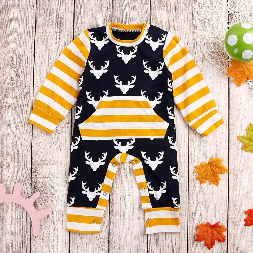 Amazingdeal Christmas Elk Newborn Baby Stripe Long Sleeve Rompers Cute Jumpsuit 3-6M