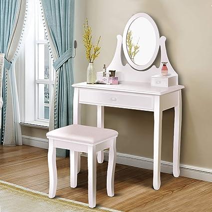Amazon.com  Giantex Vanity Table Set with 3 Drawers 37636839ed