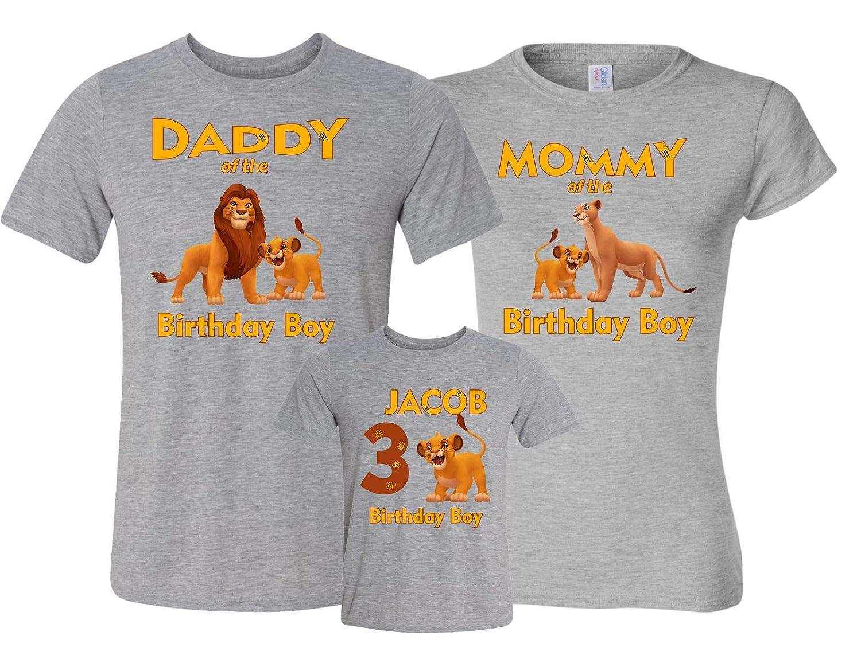 f45b615a Amazon.com: Birthday Boy Or Girl Lion King Mom dad Family Customized Shirts:  Clothing