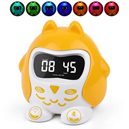 Sleep Training Alarm Clocks for Kids, Toddlers, Baby, Sleep Sound Machine  with 9 Lullabies & White Noise, 7 Color Night Light Soother Time To Wake,