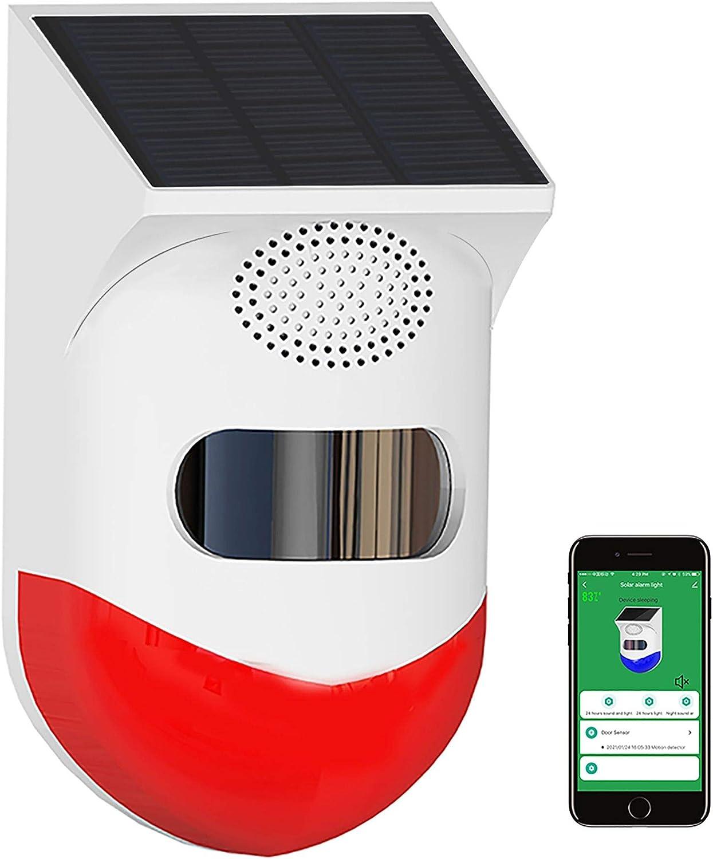 Solar Strobe Light with TUYA WiFi PIR Detector Siren APP Notification,RISOON Wireless Burglar Alarm System 120db Sound Security Siren Light IP65 Waterproof for Home, Farm,Barn,Villa,Yard