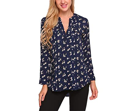 4a3b8c586 Image Unavailable. Image not available for. Color: Micca Bacain Vintage Blouse  Women Roll-Up Cuffed Sleeve Shirts Floral Print Asymmetrical Blouses Casual