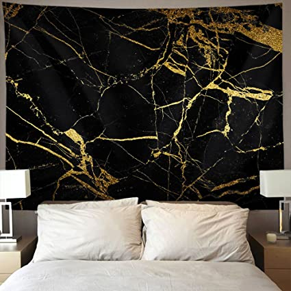 d9fbbe3b8 AMERICAN TANG Black Gold Marble Wall Tapestry Hippie Art Tapestry Wall  Hanging Home Decor Extra large