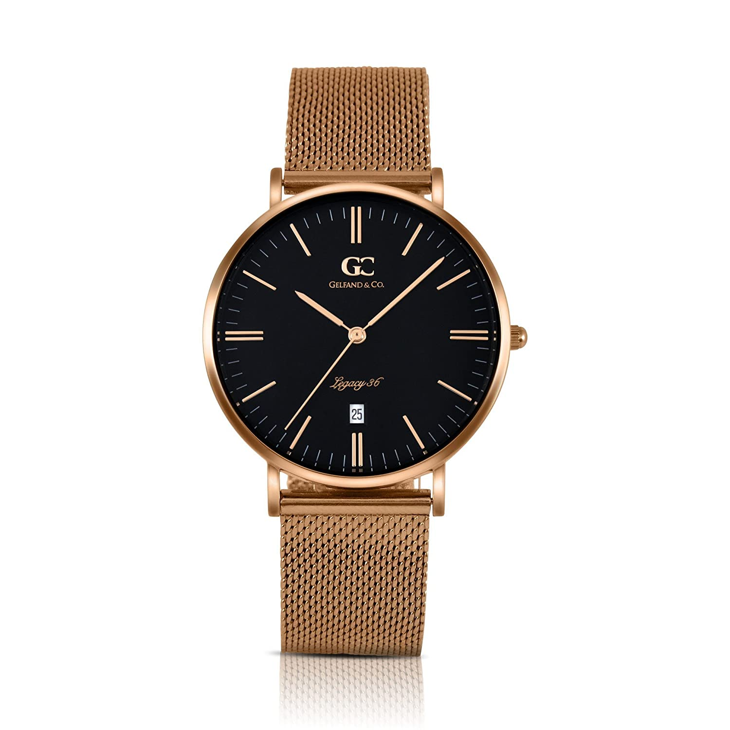 Gelfand Co. Unisex Minimalist Watch Rose Gold Mesh Band Macdougal 36mm Rose Gold with Black Dial