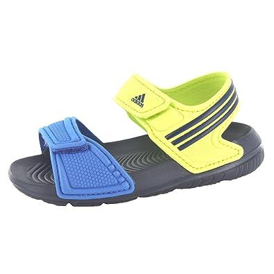 4a00b62a98e183 adidas Akwah 9 I Childrens Boys Sandals Velcro Fastening Neon Green Blue