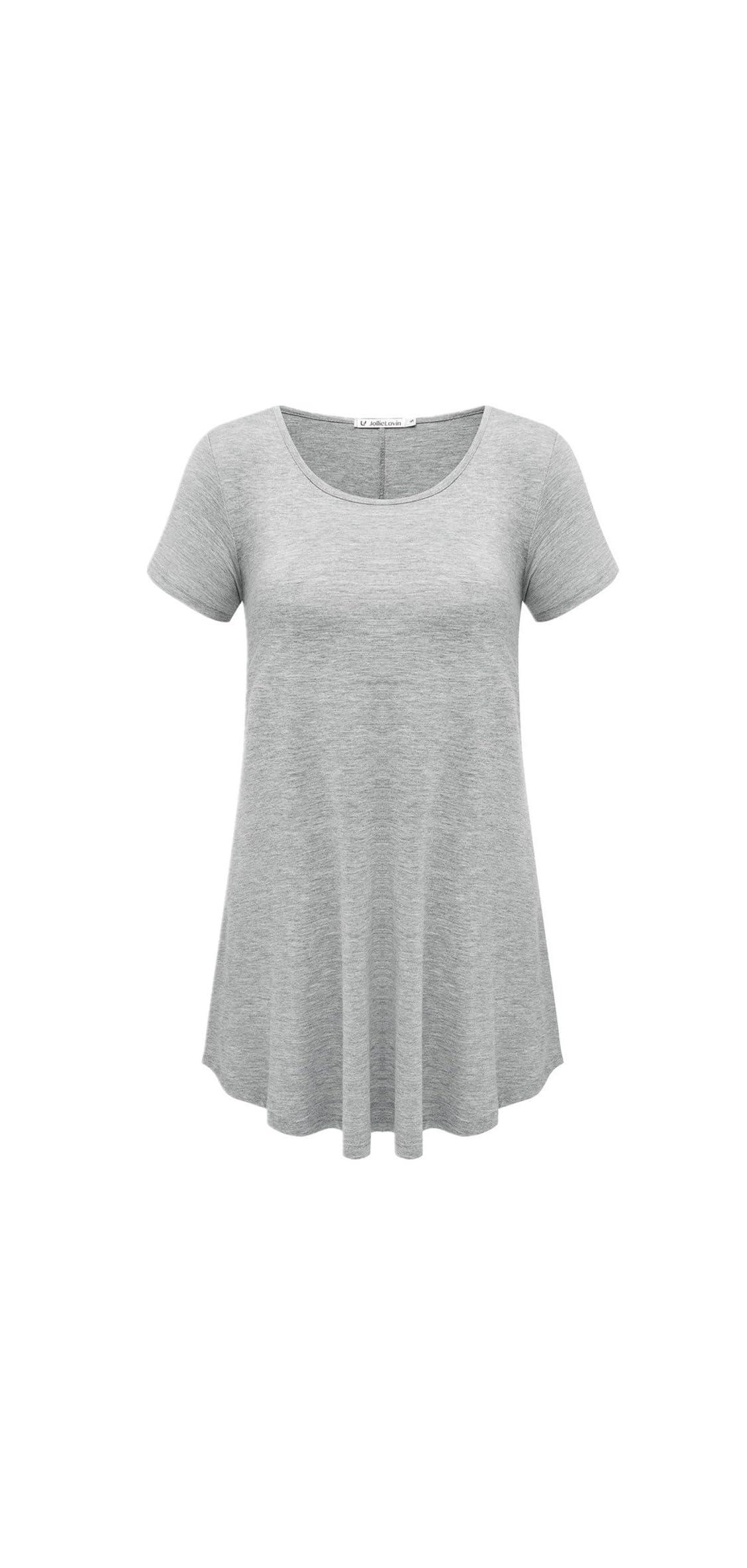 Women's Short Sleeve Loose Fit Flare Hem T Shirt Top
