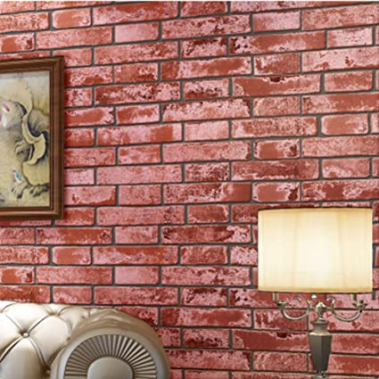non-woven wallpaper 3D antique brick wall paper Chinese-style retro ...