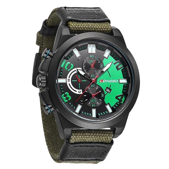 Deportes hombres grandes del tamaño del reloj con la tela de banda informal  ver tres sub marca ven números arábigos verdes  Amazon.es  Relojes 2ebf7aca343d