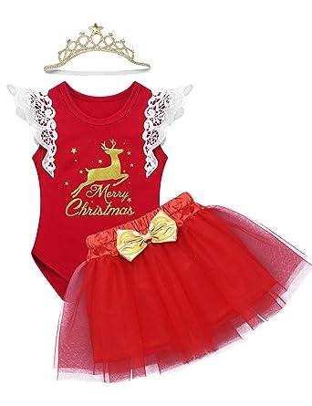 YiZYiF Vestido Navidad Rojo Disfraz de Reno Bebés Niñas Peleles ...