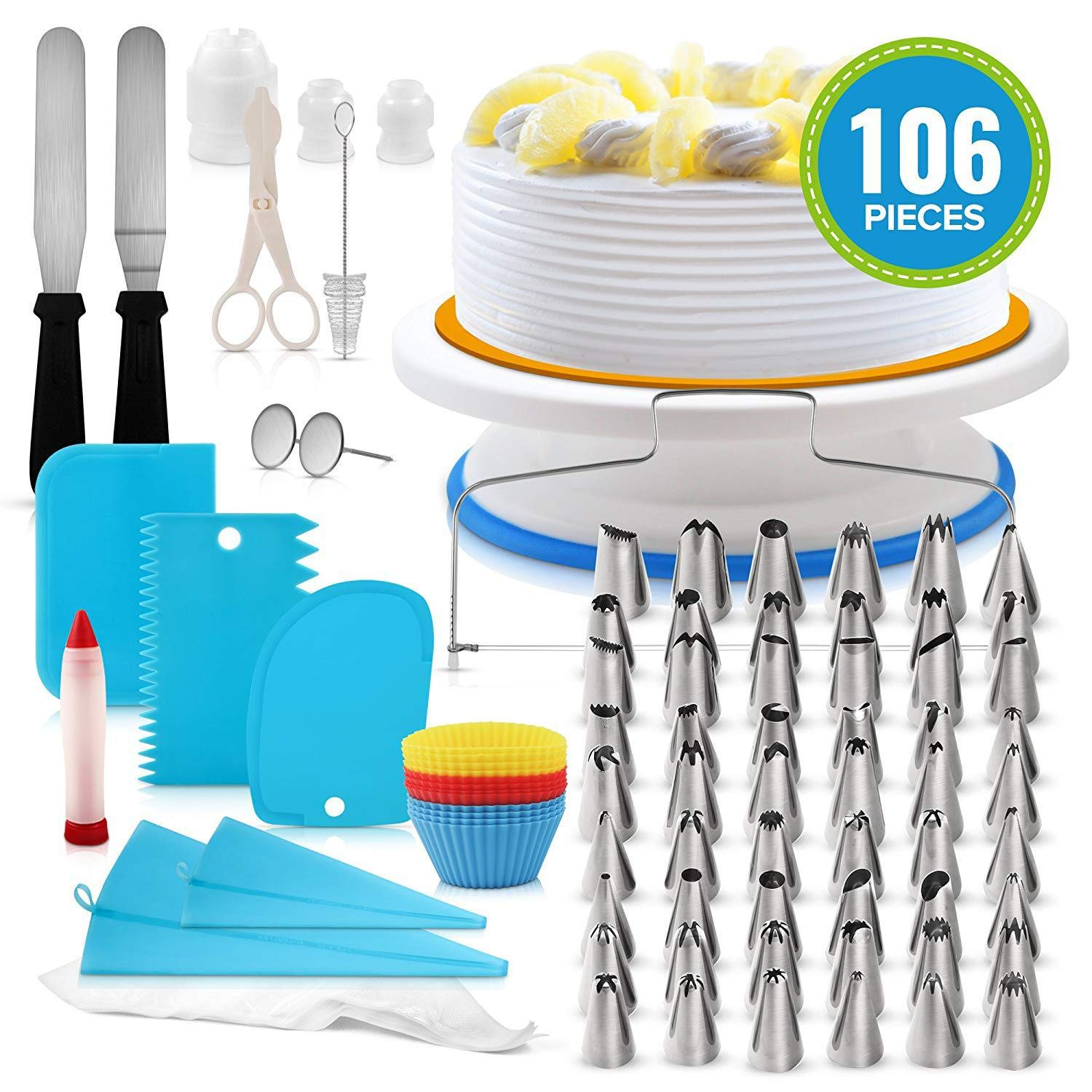 JHKJ Cake Decorating Supplies 106-in-1 Baking Accessories with Cake Turntable Stands, Cake Tips etc Frosting Tools Set,Blue