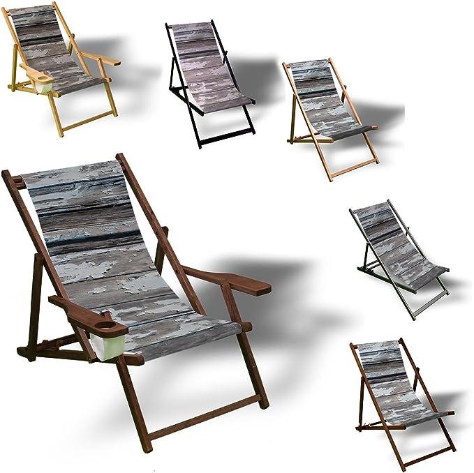 Vieja madera listones – Tumbona Impreso Balcón Jardín Tumbona Relax Madera Terraza: Amazon.es: Jardín