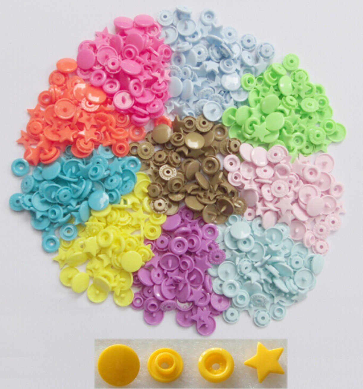 WellieSTR { 150 sets 10 Colors mixed Kit } KAM Star Shaped Plastic Snap Button & Tool Fastener Buttons For Baby Diaper Ltd