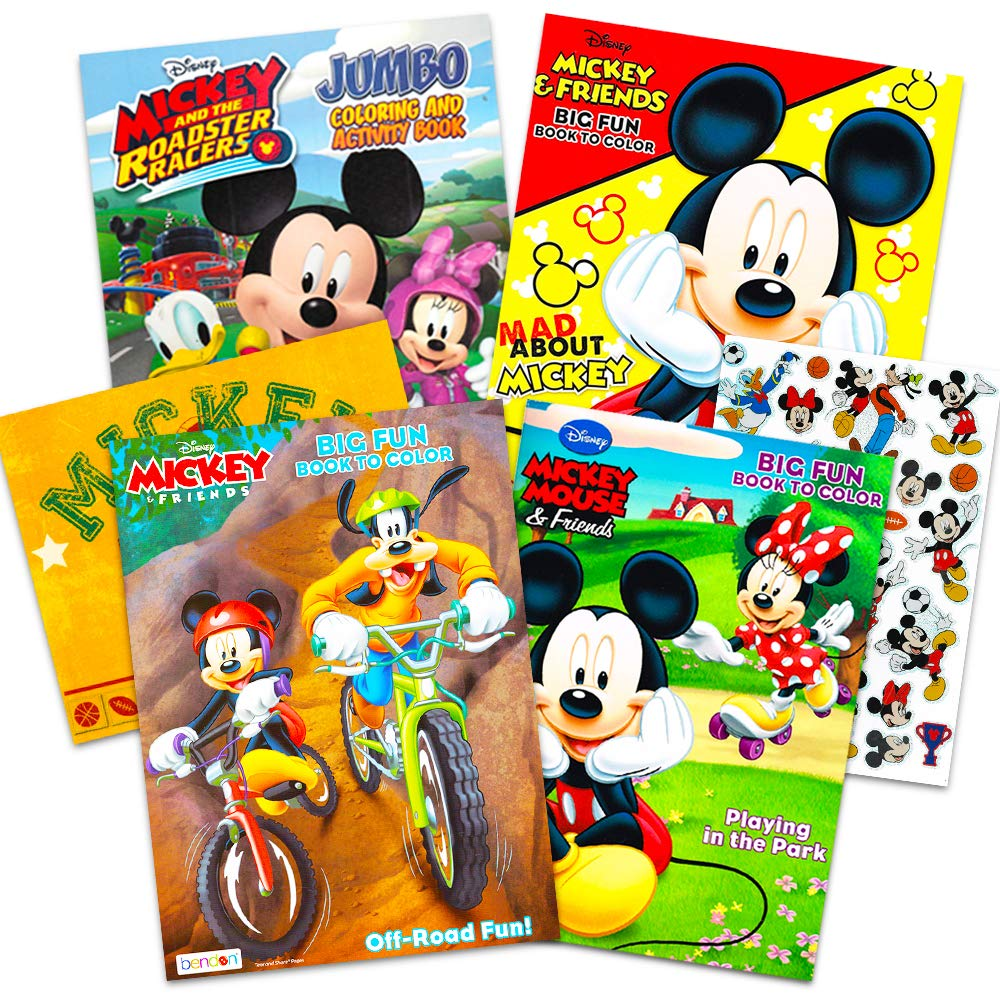Disney Mickey Mouse Coloring Book Super Set with Stickers (4 Mickey Mouse Activity Books for Kids Toddlers)