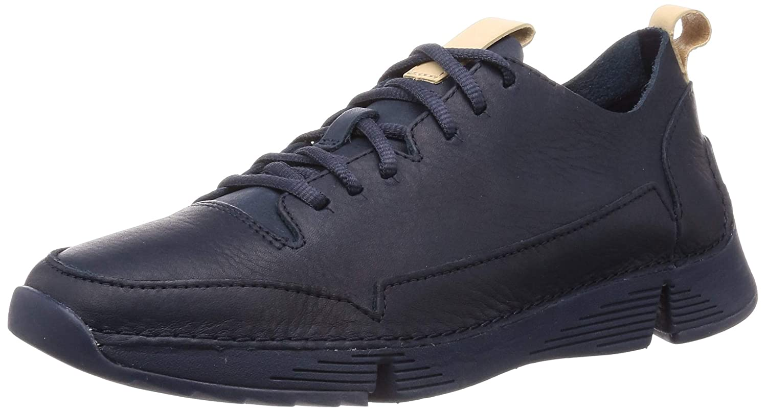 Bleu (Navy Leather -) Clarks Tri Spark, paniers Basses Homme