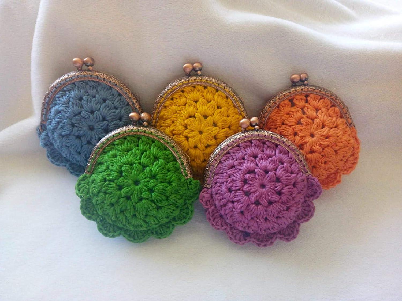 Lote de 5 Elegantes Monederos Multicolores a Crochet. Carteras y Neceseres.Complementos. Regalos Originales. Detalles de Bodas, Comuniones, Bautizos, Cumpleaños.