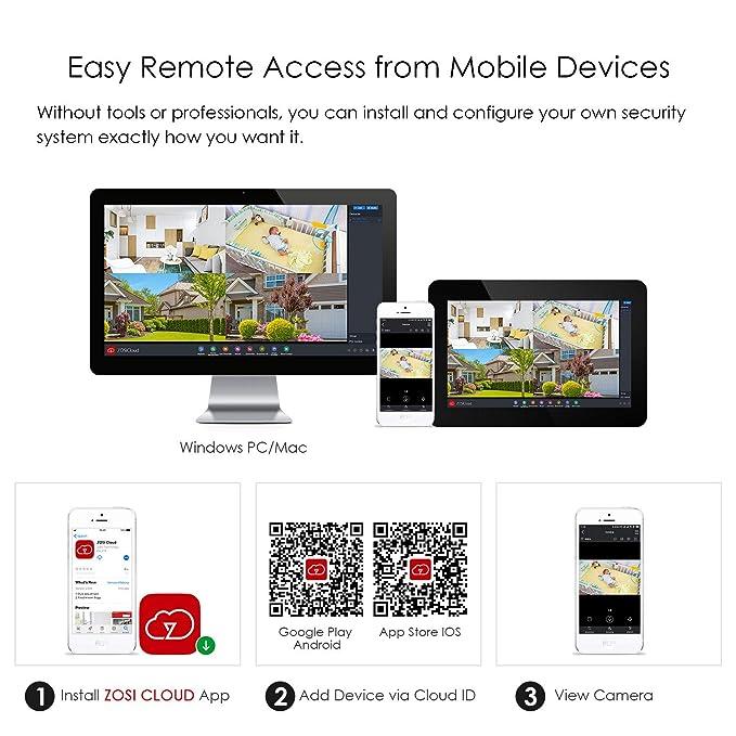 ZOSI Kit de Cámaras de Seguridad WiFi 960P Sistema de ...