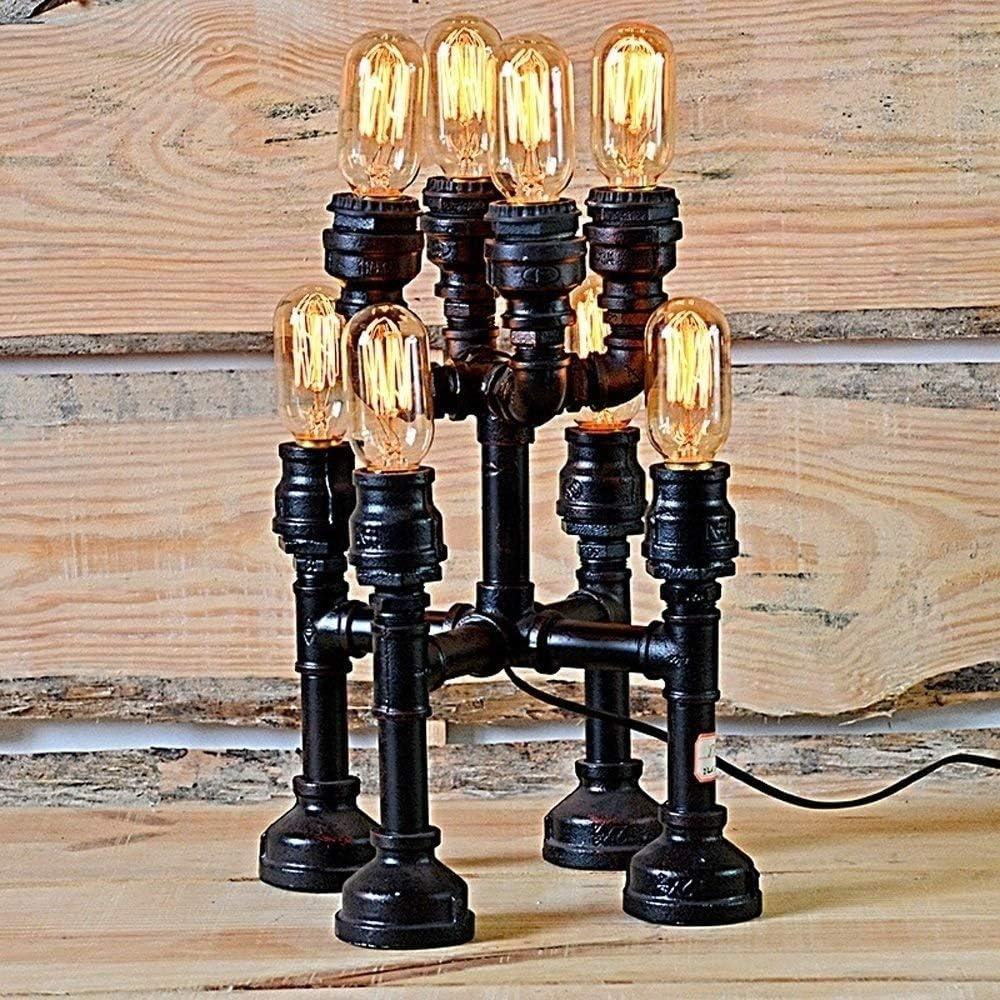 Hurffue Americano antigüedad metal piso lámpara de escritorio de luz 8 cabezas de tubos de hierro de la vendimia de agua industrial lámpara de mesa de taberna de la barra de la sala de Steampunk Party