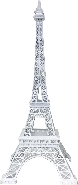 """allgala 10"""" Eiffel Tower Statue Decor Alloy Metal, White"""