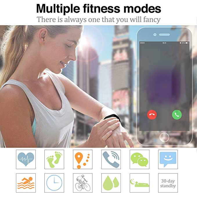 Amazon.com: Smart Bracelet Waterproof Sport Smart Wristband Bluetooth Wireless Fitness Tracker Watch with Heart Rate Monitor Sleep Pedometer Calorie Counter ...