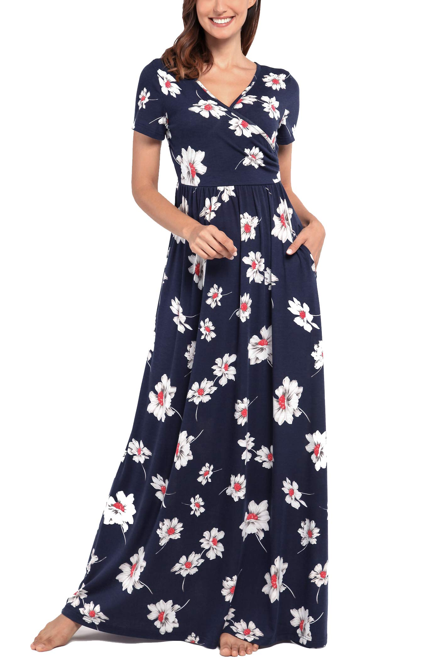 Comila Maxi Dresses for Women Short Sleeve, Ladies Wrap Long Dresses Fashion V Neck Summer Maxi Dress A Line Casual Wedding Dress with Pockets Dark Blue XL (US 16-18)