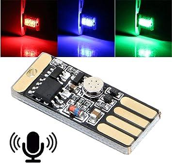1pc Mini USB Colorful LED Car Interior Light Voice Control Atmosphere Ambient