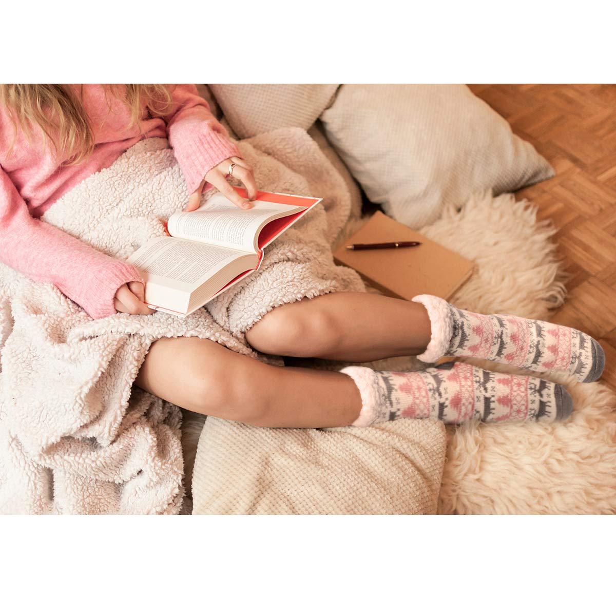 Slipper Socks Winter Ladies Non Slip Fleece Lined Slipper Socks Soft Cozy Cotton Knitted Sock for Women Girls Christmas Xmas Gift Indoor One Size