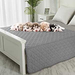 Dog Blankets for Couch Protection Waterproof Dog Bed Covers Pet Blanket Furniture Protector (Grey+Dark Grey, 52