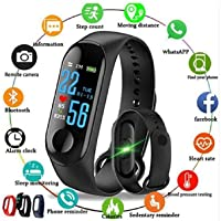 M4 Smart Band Fitness Tracker Watch Heart Rate with Activity Tracker Waterproof Body Functions Like Steps Counter, Calorie Counter, Blood Pressure, Heart Rate Monitor OLED Touchscreen- Stanglobe®