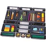 Set of 24 Interlocking Desk Drawer Organizer Tray Dividers Plastic Shallow Narrow Drawers Organizers Separators Storage Bins