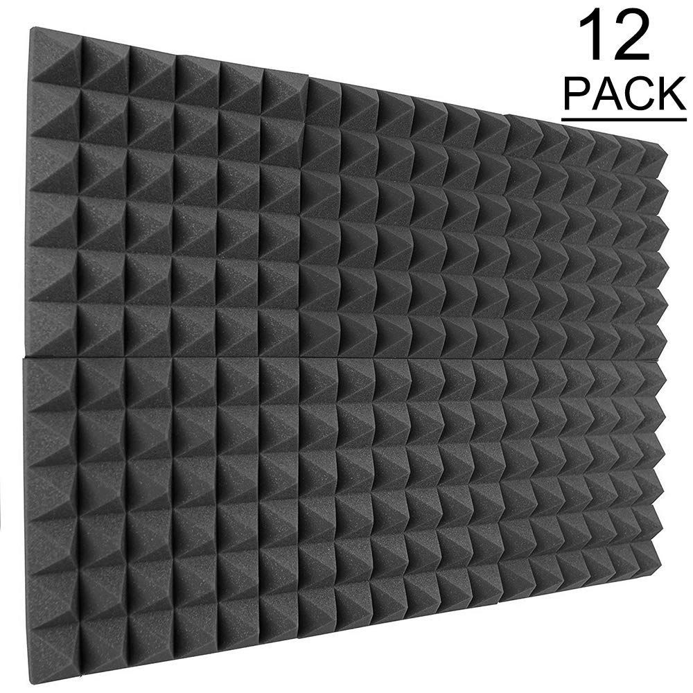 DEKIRU Soundproofing Foam Charcoal Black Acoustic Foam Sound Padding Absorption Pyramid Studio Treatment Wall Panels, 2'' X 12'' X 12'' Friendly for Home Studio & Rooms Sound Insulation -12 Pack