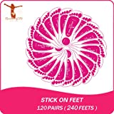 120 Pairs(240feets Total) Disposable Pink Stick on Foot
