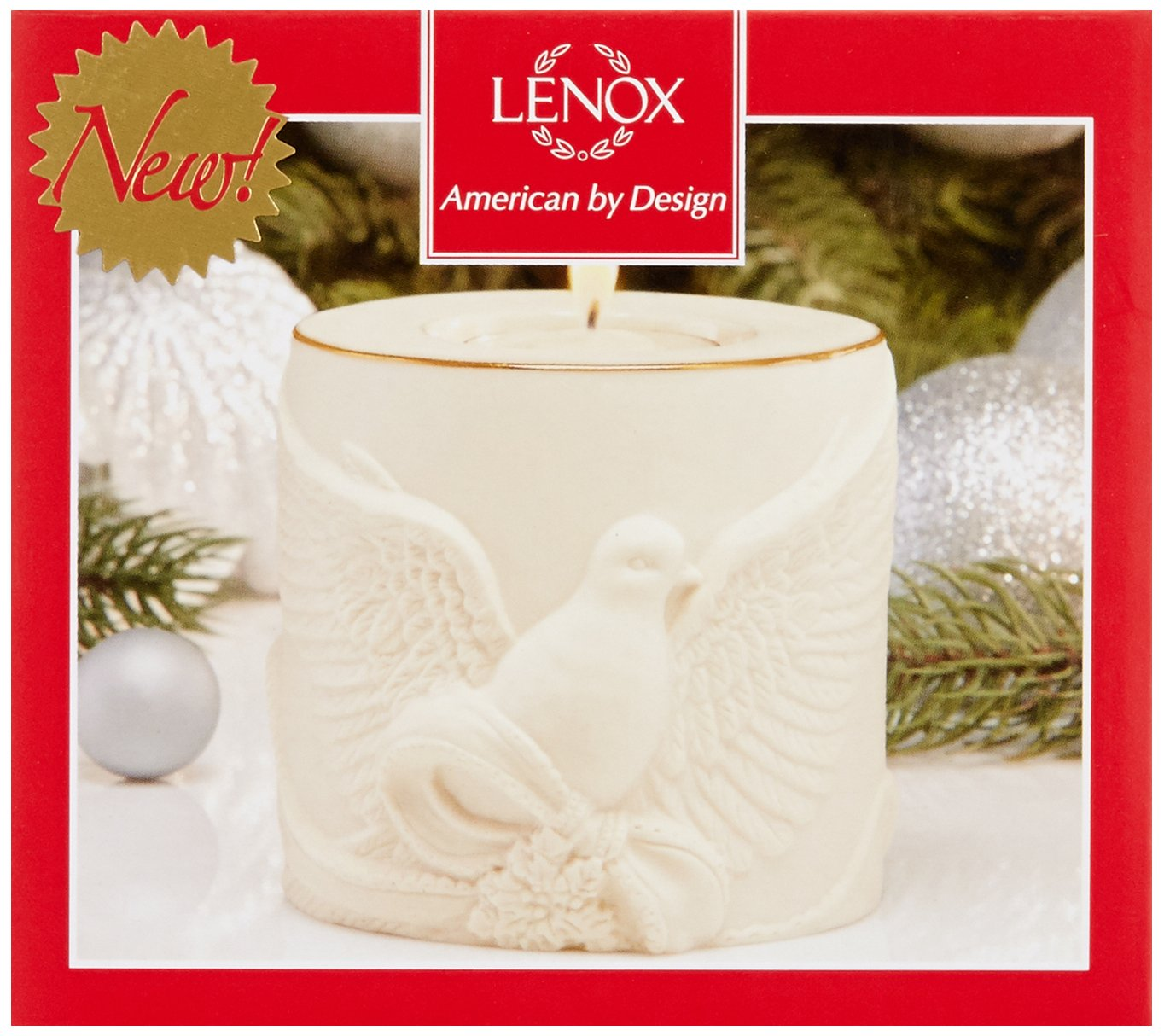 """Lenox Radiant Light Dove Votive - 3.25"""" D Crafted of Porcelain and Accented with 24K Gold For Decorative Use Only - living-room-decor, living-room, candles - 71yQSOxVCmL -"""