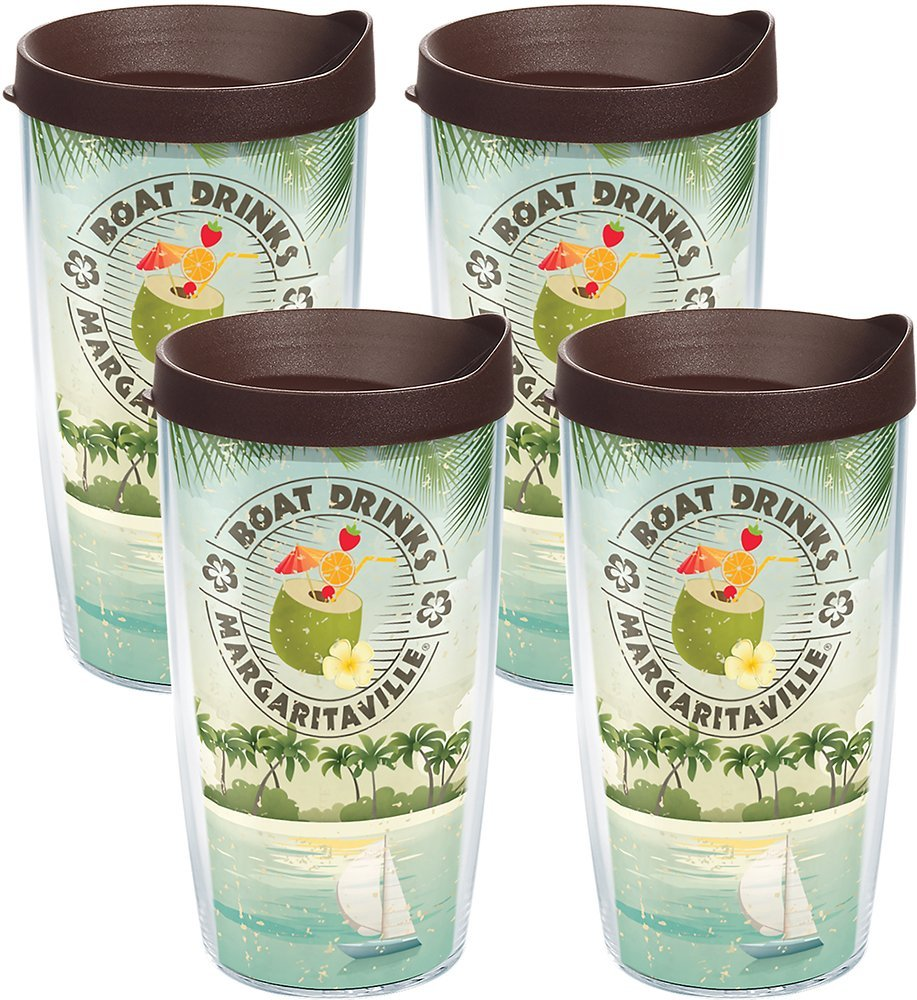 Tervis 1133252 Margaritaville Boxed 16oz Clear Boat Drinks Palm Insulated Tumbler with Wrap and Brown Lid 4 Pack