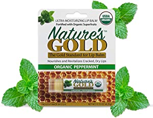 Nature's Gold USDA Certified Organic Super-Healing Lip Balm Value Pack of 3. Amazing Peppermint Flavor with Cocoa Butter & Shea Butter. Fast Relief for Cracked, Dry and Chapped Lips!