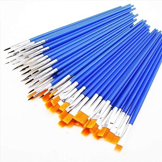 40 Pinsel mit flacher Spitze Nylon Pinsel f/ür K/örperfarbe Zosenda Malerpinsel-Set Aquarell 40 runde Pinsel Blau Acryl 80 St/ück /Ölmalerei