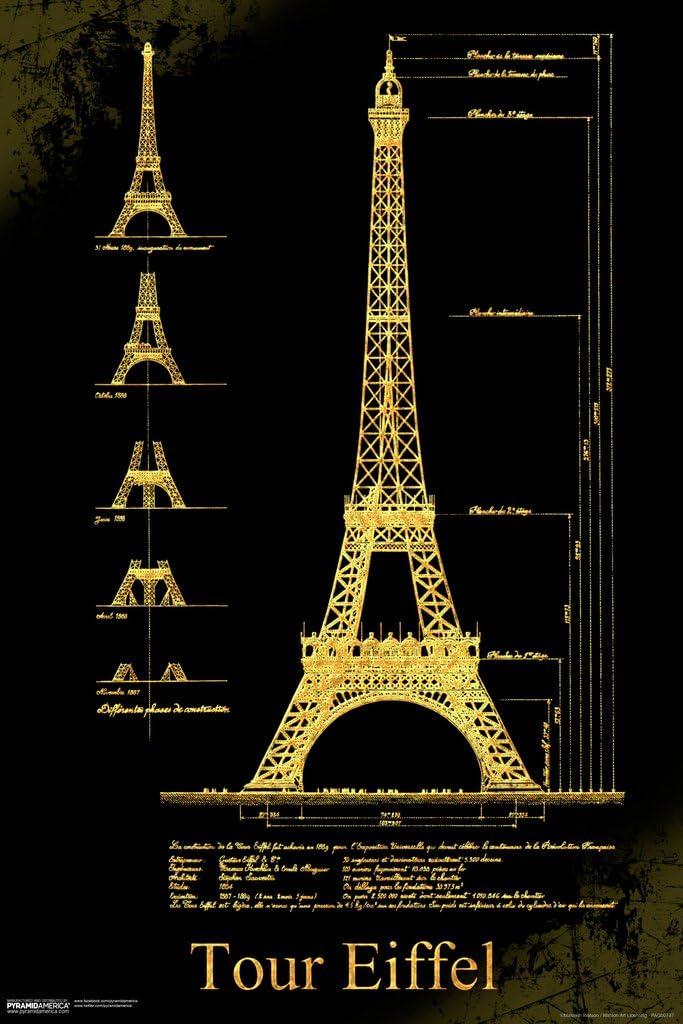 Pyramid America Malcolm Watson Tour Eiffel Tower Schematics Architectural Design Landmark Paris Art Cool Wall Decor Art Print Poster 12x18