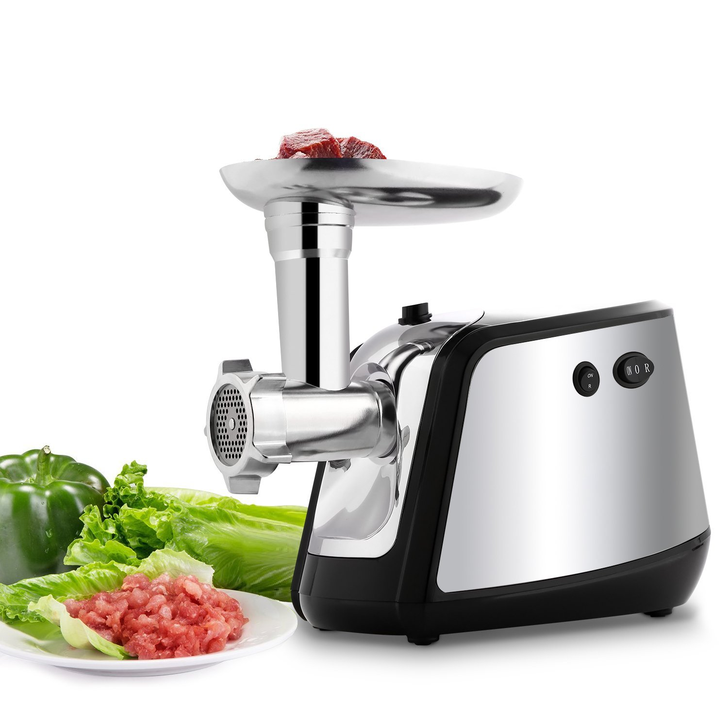 Electric Meat Grinder and Sausage Stuffer Maker Meat Mincer with 3 Grinding Plates for Home Use &Commercial (Black)