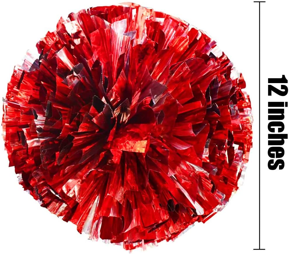 Red /& Silver 2 Pair Metallic Foil Cheerleader Pom Poms /& Plastic Ring Cheer Poms with Baton Handle Cheerleading Pompoms for Sports Party Dance Team Accessories Cheering Squad Spirit TTSAM 4 Pack