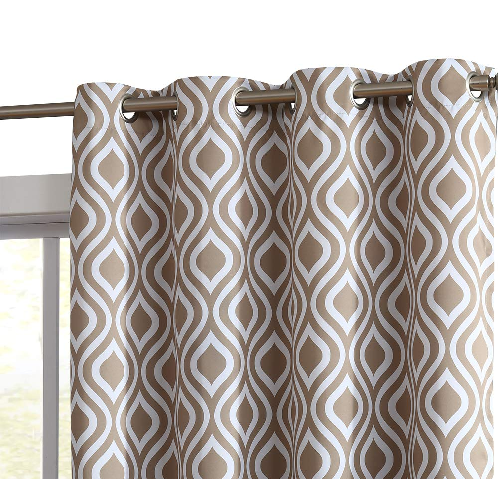 HLC.ME Ogee Trellis Print Blackout Grommet Curtain Panels for Window - 99% Light Blocking - Thermal Insulated Decorative Hanging Pair for Privacy & Room Darkening - Set of 2 (52'' W x 96'' L, Taupe)