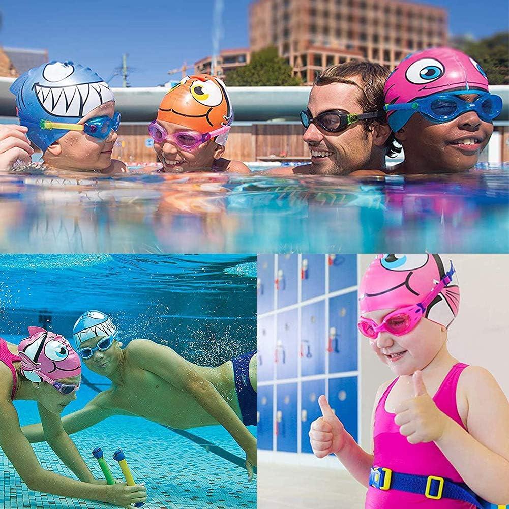 Ohrenst/öpsel Silikon-Schwimmkappen Schwimmbrille Jugendliche NALCY Badekappe Set f/ür Kinder Badekappe Badehaube mit coolem Hai Motiv f/ür Kinder Jungen und M/ädchen