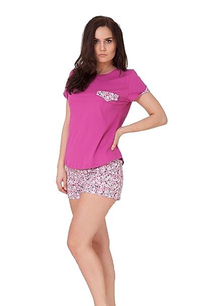 M-MAX Pijama de Mujer Noche Conjunto T-Shirt & Pantalones Cortos 100%