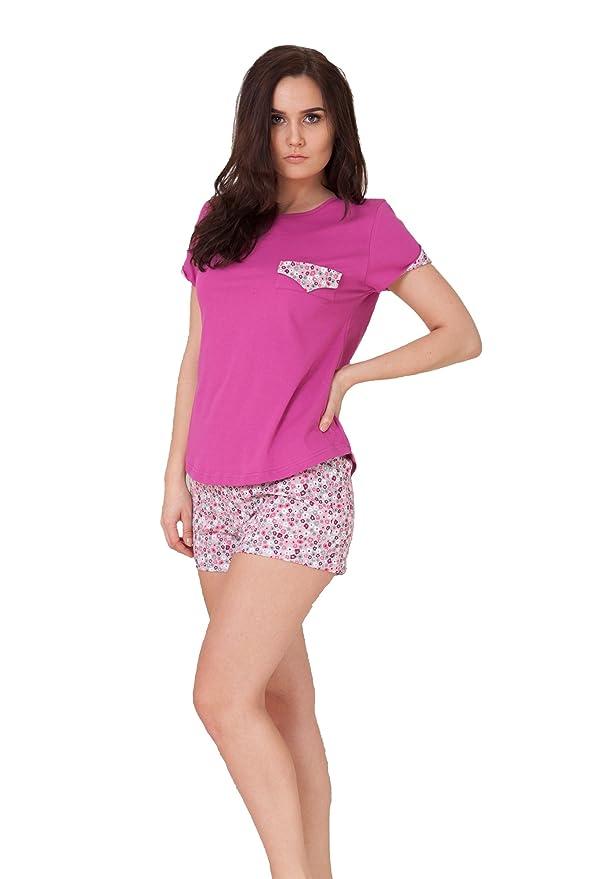 M-MAX Pijama de Mujer Noche Conjunto T-Shirt & Pantalones Cortos 100% Algodón Diferentes Modelos S-2XL (L - 40, Olimpia 638/2): Amazon.es: Ropa y accesorios